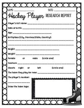 Hockey Player Research Outline for a presentation