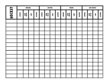 Hockey Rubric Class Checklist