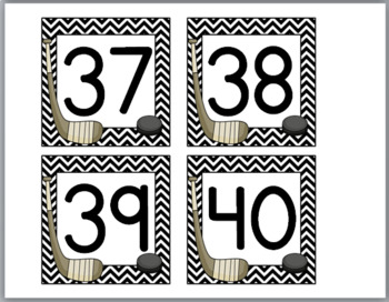 Hockey  Sports Theme Classroom Décor Number Labels 1-40