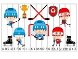 Hockey Sports themed Alphabet Sequence Puzzle preschool educational game.