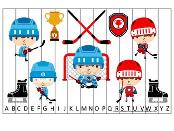 Hockey Sports themed Alphabet Sequence Puzzle preschool ed