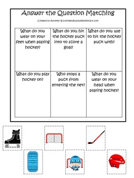 Hockey Sports themed Answer the Question preschool educational game.