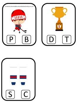 Hockey Sports themed Beginning Sound Clip it Cards preschool educational game.