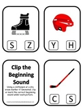 Hockey Sports themed Beginning Sound Clip it Cards preschool educational game.