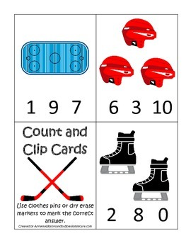 Hockey Sports themed Math Numbers Clip it Cards preschool educational game.