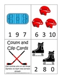 Hockey Sports themed Math Numbers Clip it Cards preschool