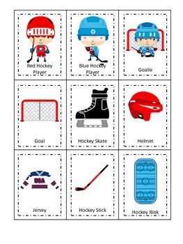 Hockey Sports themed Three Part Matching preschool educational game.