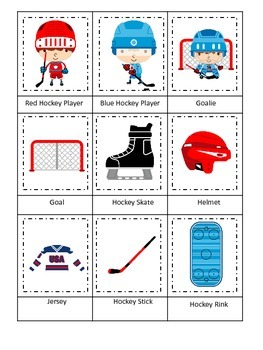 Hockey Sports themed Three Part Matching preschool educati