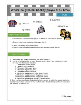 Hockey Statistics research project on mean, median and mode.