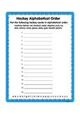 Hockey Vocabulary Alphabetical Order