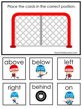 Hockey themed Positional Game.  Printable Preschool Curriculum Game
