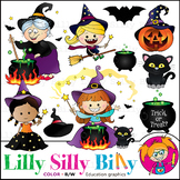 Hocus Pocus. Clipart. BLACK AND WHITE & Color Bundle. {Lilly Silly Billy}