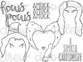 Hocus Pocus Digital Clip Art Set- Black Line Version
