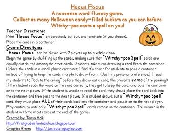 Hocus Pocus Nonsense Word Fluency Practice Game