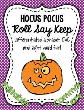 Hocus Pocus Roll Say Keep: Editable Alphabet, CVC & Sight Word Fun (CC Aligned)