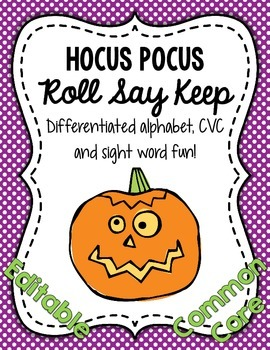 Hocus Pocus Roll Say Keep: Editable Alphabet, CVC & Sight