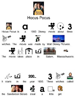 Hocus Pocus - picture supported text lesson movie review questions visuals