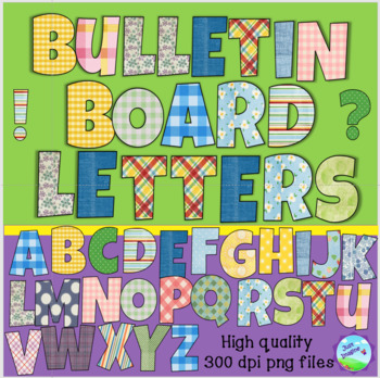 Hodgepodge of Bulletin Board Letters - plaid, gingham, stripes and more