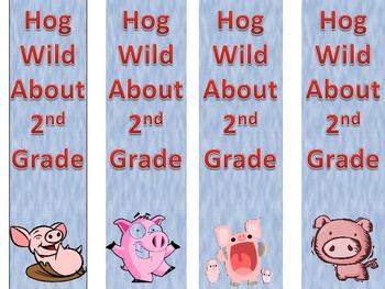 Hog Wild About 2nd Grade Bookmark