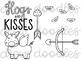 Hogs and Kisses Digital Clip Art Set- Black Line Version
