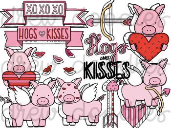 Hogs and Kisses Digital Clip Art Set- Color and Black Line COMBO