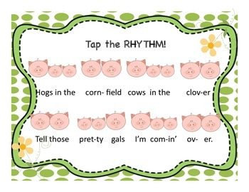 """Hogs in the Cornfield""- a song to introduce 8th/16th note patterns"