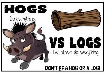 Hogs v Logs - cooperative work poster