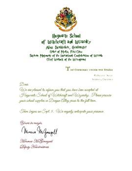 Hogwart's Acceptance Letter
