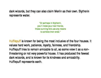 Hogwarts House Descriptions