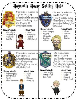 Hogwarts House Sorting Quiz- Harry Potter by Lindsey Bowers