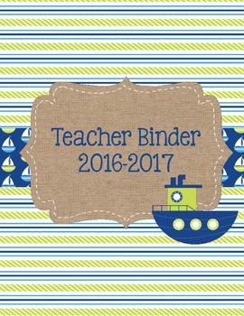Hoist Your Sail! Lime Green and Blue Nautical Teacher Binder