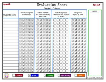 Hoja de Evaluación: Colores (Evaluation Sheets for colors)