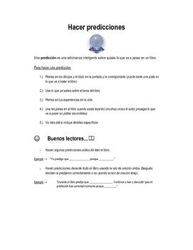 Hoja de Hacer Predicciones para la lectura/ Predictions in Spanish
