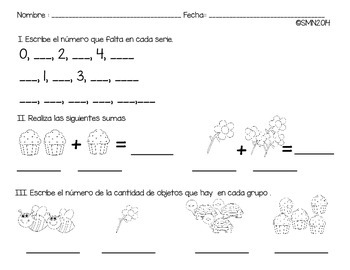 Hoja de tarea antes , después y suma de conjuntos