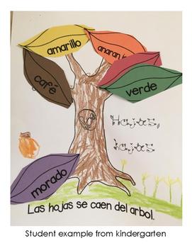 Hojas, Hojas Fall Otoño Spanish Lesson