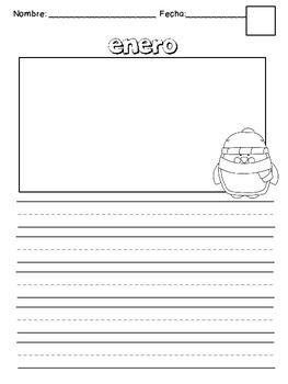 Hojas de escritura para cada mes/ Monthly writing