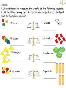 Hojas de la Medición/Measurement worksheets in English & Spanish - Kinder