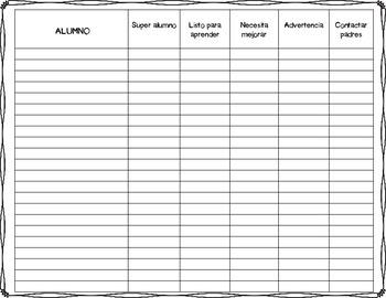 Hojas de registro para tarea y comportamiento