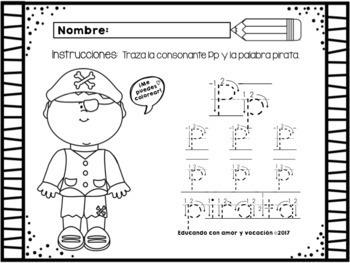 Hojas de trabajo Letra Pp/Letter Pp (Spanish)