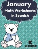 Hojas y centros de matematicas- Enero (invierno) para Kindergarten (Spanish)