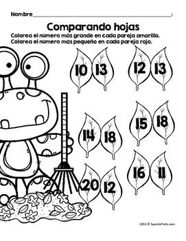 Hojas y centros de matemáticas para octubre -Primer Grado (Spanish Math)