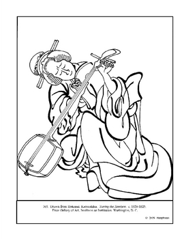 Hokusai.  Tuning the Samisen.  Coloring page and lesson plan ideas