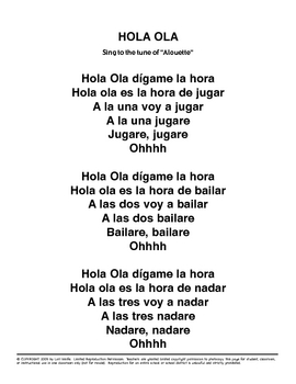 Hola Ola   - Spanish Song for future tense and Lesson Plan