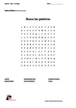 ¡Hola! The Basics Vocabulary -Greetings in Spanish