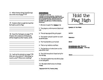 Hold the Flag High Trifold Worksheet (5th Grade Reading Street 2011 Edition)