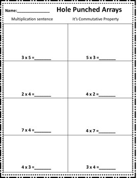 3.4E Hole Punch Arrays with Commutative Property STAAR
