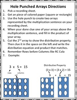 3.4E Hole Punch Arrays with Distributive Property STAAR