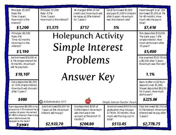 Hole Punch: Simple Interest Problems