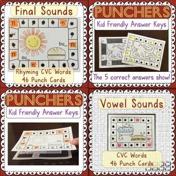 Hole Punch Task Cards BUNDLED: Letter ID, Beginning, Final, & Short Vowel Sounds