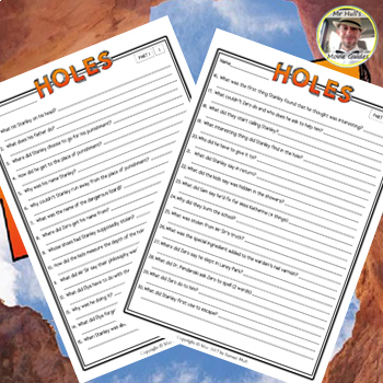 Holes Movie Guide + Summary writing (Color + B/W) - Answer Keys Included